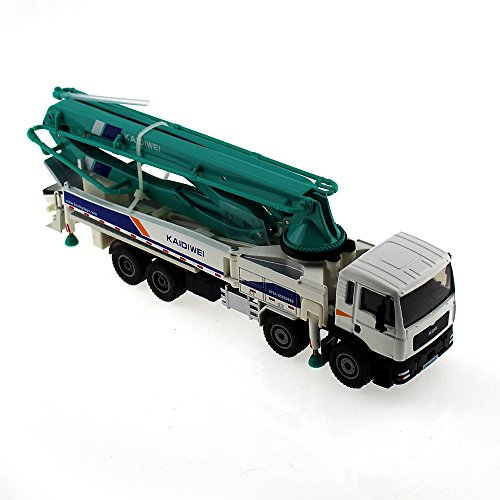 Tipmant Alloy Die-cast Vehicle Model Toy Engineering Concrete Pump Truck Car High Simulation Kids Gift 1:55 - Blue & White (White)
