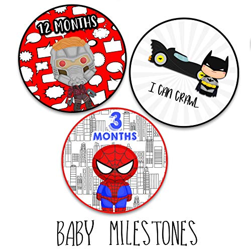 Darling Character Themed Baby Milestone Stickers for First Year Month to Month Photo Prop Infant Onesie Growth Chart Shower Registry Gift Scrapbook Photo Keepsake Monthly Set (Superhero Set)