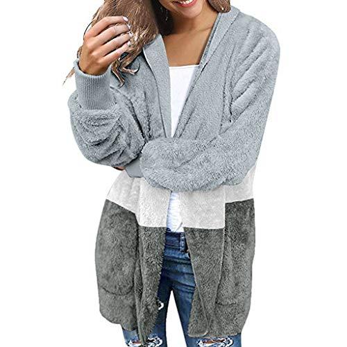 Giacca Maglione Donna Vintage Scialle Manica Lunga Felpa Cardigan Casuale del Cappotto Manicotto A Maglia delle Cappotto Elegante Autunno Invernale (XL,3- Blu)