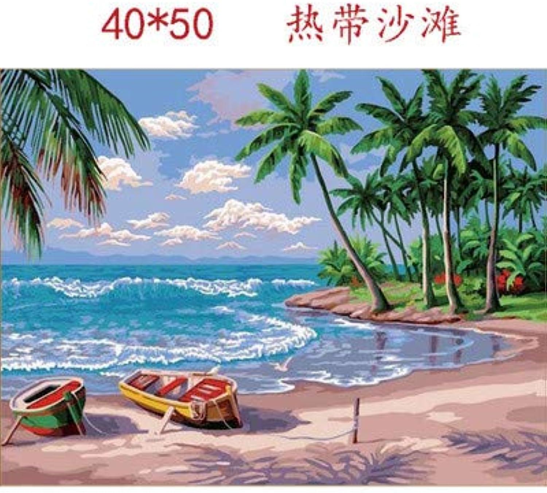 Agolong DIY-Baumwollhandgemalter Hauptlandschafts-Dekorations-Strand-Digital-Anstrich Mit Rahmen 40x50cm B07NNWDC22   Tadellos  Tadellos  Tadellos  502c5d