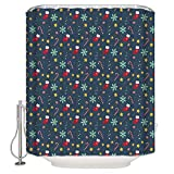 wanshangcheng Christmas Icon Stocking Snowflake Candy Cane Navy Blue Shower Curtain Waterproof Fabric Polyester Bath Curtain, 72x72 Inch 66x72 Inch