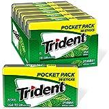 Trident Spearmint Sugar Free Gum, 6 Pocket Packs of 28 Pieces (168 Pieces Total)
