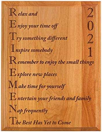 ThisWear Retirement Gifts Women Men Retirement 2021 Retired Poem Retirement Gift Ideas Coworker 7x9 Oak Wood Engraved Plaque Wood