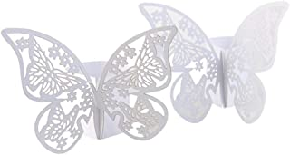 Pi-Pi 100pcs 3D Butterfly Paper Napkin Rings Weddings Party Serviette Table Decoration Restaurant (White)