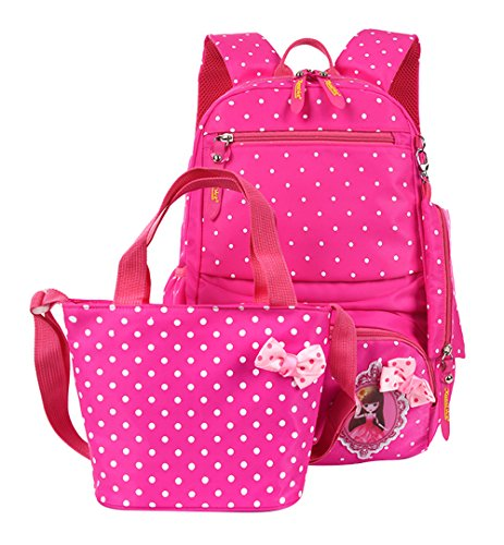 Fanci 3Pcs Polka Dot Princess Style Elementary Kids School Backpack Bookbag Set for Teens Girls School Bag with Handbag