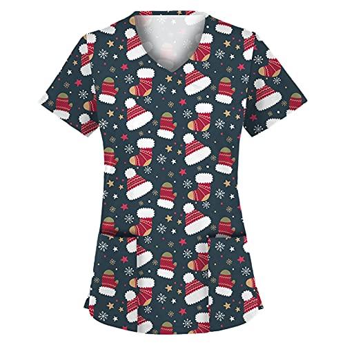 yiouyisheng Kasacks Damen Pflege Bunt Christmas Motive Weihnachten Krankenpfleger Mediznischer Uniformen Schlupfhemd V-Ausschnitt Schlupfkasack Kurzarm Tshirt Bluse mit Taschen
