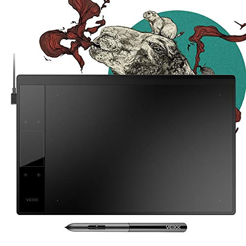 VEIKK A30 Graphics Drawing Tablet with 8192 Levels Battery-Free Pen - 10' x 6' Active Area 4 Touch Keys and a Touch Pad