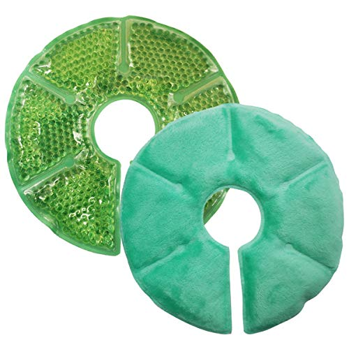 Breast Therapy Pads Breast Ice Pack, Hot Cold Breastfeeding Gel Pads, Boost Milk Let-Down with Gel Bead Pads, 2 Count (Teal, Small Diameter: 6.7') (Teal, Large Diameter: 7.5')