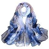 Digitek Pañuelo de Seda Mujer - Bufanda Seda Mujer, Chiffon Pañuelo Fulares Bandanas de Seda pelo Ligero Para Mujer Impresión elegante Damas Cabello Cabeza Cuello, 160×50CM (Azul)
