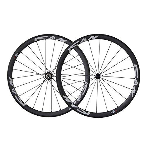 TRIAERO 700C Neumáticos para Bicicleta de Carretera Ligeros Tubeless Ready. Juego de Ruedas de Carbono de 23 mm de ancho Neumáticos de 38 mm para Neumático Rayos CN