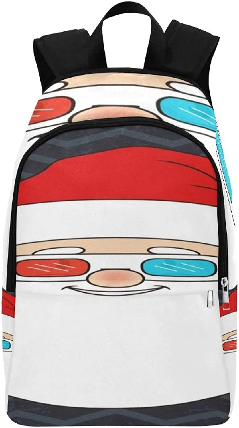 Raster Copy Smiling Santa Claus Christmas Casual Daypack Travel Bag College School Backpack for Mens and Women