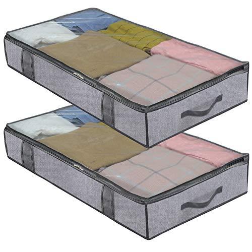 homyfort 2 Stück Premium Unterbettkommode mit Sichtfenster, Unterbett-Aufbewahrungstasche Kleideraufbewahrung, Decken Organisator Lagerbehälter, 4 Haltegriffen, 100x 50x 15 cm, Grau Leinen, DEXDUBBP2