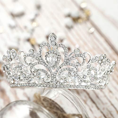 Jovono Vintage-Kristallkrone für Damen mit Strass, Diadem, Hochzeits-Haar-Accessoires (kleine Größe)