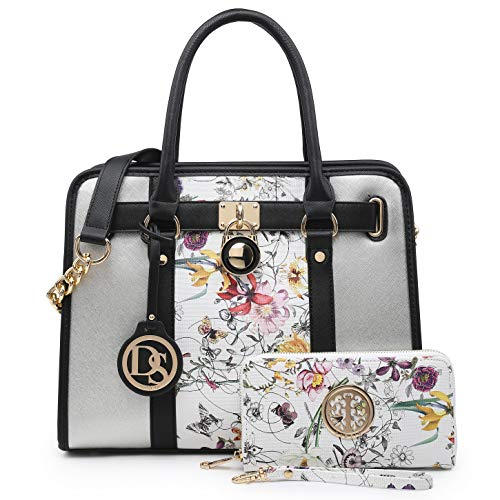Women Handbags Purses Two Tone Satchel Bags Top Handle Shoulder Bags Work Tote with Matching Purse
