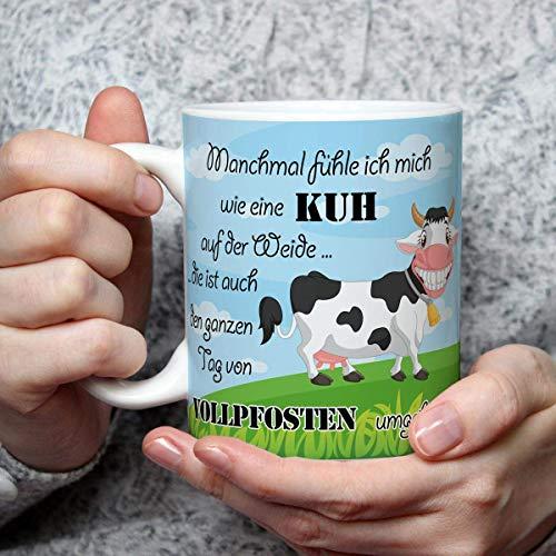 Geschenk Tasse Kuh lustig mit Spruch Vollpfosten Kuhmotiv Geburtstagsgeschenk für Kuhliebhaber Arbeit Büro Frauen Freundin Kollegin