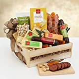 Savory Meat and Cheese Gift Basket | Filled with Sausages, Cheese, Dried Fruits and Nuts