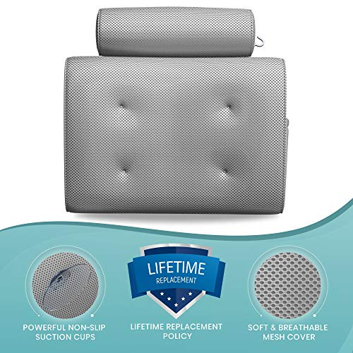 Everlasting Comfort Bathtub Bath Pillow - Jacuzzi Bathtub Spa Pillow with Back and Headrest Cushion - 4 Non Slip Suction Cups