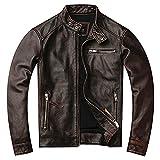 ANTLEP Chaqueta de cuero genuino para hombre Cafe Racer auténtica piel de vacuno vintage para hombre motocicleta Biker chaqueta