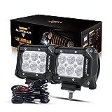 Auxbeam 4' LED Pods 18W LED Light Bar Flood Beam LED Off Road Driving Lights with Wiring Harness for SUV ATV UTV Trucks Pickup Jeep Lamp (Pack of 2)