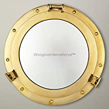 Deluxe Nautical Brass Polished Porthole Mirror | Pirate's Boat Decorative Mirror | Captain's Maritime Beach Home Decor & Gifts | Nagina International (17 Inches)