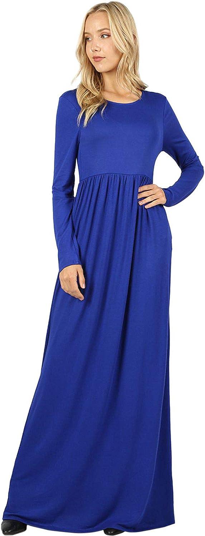 Sportoli Maxi Dresses for Women Solid Lightweight Long Casual Long Sleeve W/Pocket