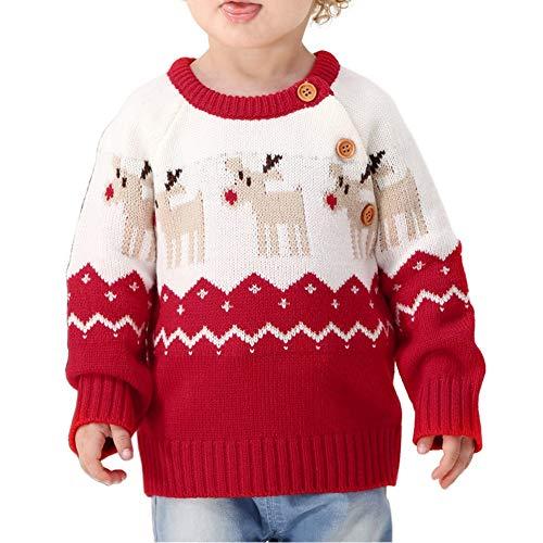 URMAGIC Bimbo Inverno Maglione, Bimba e Bambino Natale Cotone Manica Lunga Knit Camicia Felpa con Modello di Alce per 0-2 Anni