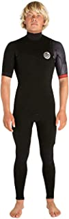 Rip Curl Mens E-Bomb 2mm Zip Free Short Sleeve Wetsuit Black Red - Easy Stretch