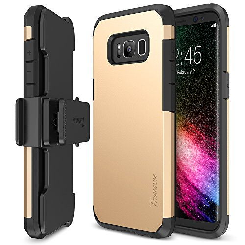 Trianium Duranium Series Holster Case Compatible with Samsung Galaxy S8 with Heavy Duty Premium Protective Kickstand + Extreme Shock Absorption S8 Case 2017 - Gold