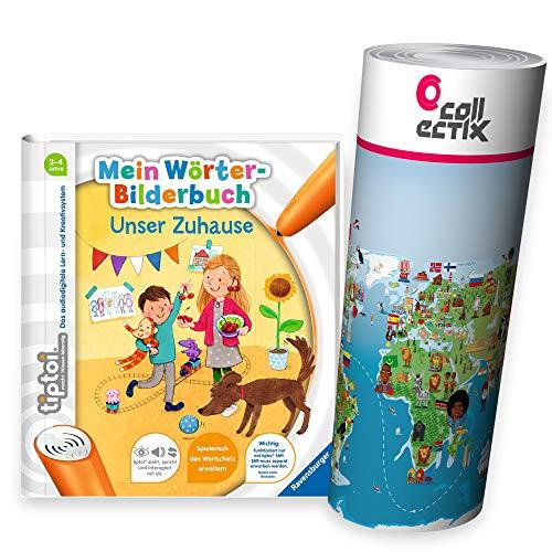 Ravensburger tiptoi® Buch | Mein Wörter-Bilderbuch: Unser Zuhause + Kinder Weltkarte - Länder, Tiere, Kontinente