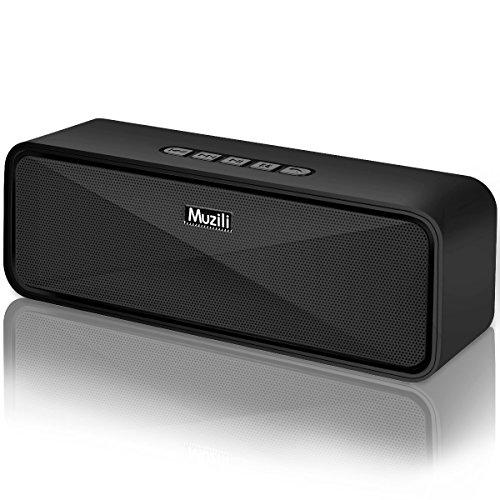 Muzili bluetooth スピーカー ブルートゥース スピーカー 高音質 重低音とデザイン性に優れた デュアルドライバー マイク搭載 ハンズフリー通話 小型 ワイヤレススピーカー ポータブル TFカード(microSD)スロット&USBポート&Auxポート対応 日本語説明書 技適認証済