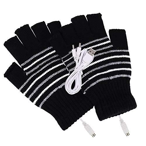 HONGLEI Guantes calentados por USB para mujer y hombre, calentadores de manos para invierno, guantes calientes, a prueba de heladas, guantes para computadora portátil (rayas)