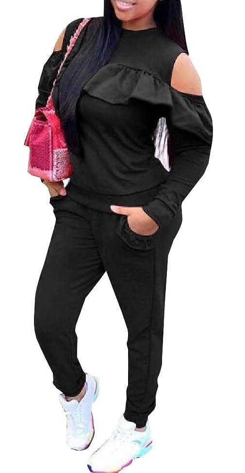 急勾配の言及するご近所Women's Sexy Ruffled Cold Shoulder Sweatshirt + Long Pants Sweatsuits Set 2 Pieces Outfits Set
