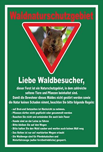 Melis Folienwerkstatt Schild Wald-Naturschutzgebiet - 15x10cm - Bohrlöcher - 3mm Hartschaum – 20 VAR S00359-203-E