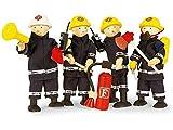 4 Feuerwehrmänner & Zubehör aus Holz / Biegepuppen mit Feuerwehranzug und Zubehör / Puppe -...