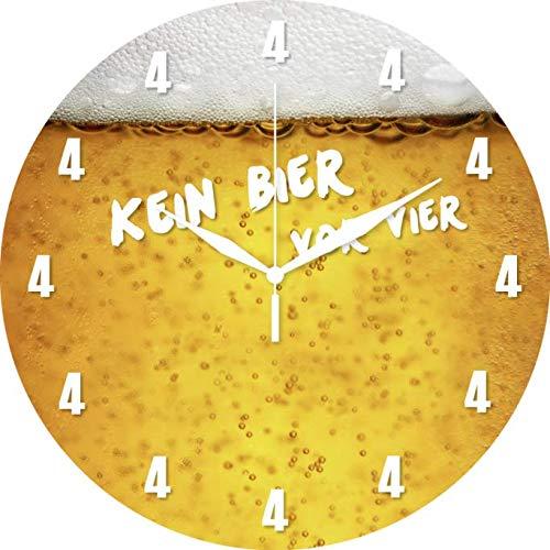 Bier Glas Wanduhr Küchenuhr Hobby Uhr Bürouhr Hobbyraum Partykeller 28cm