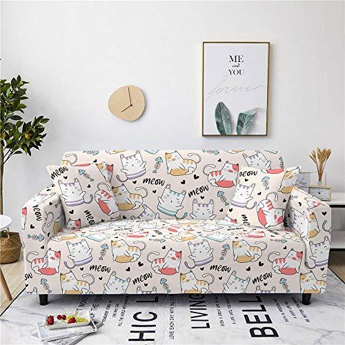 Funda Sofa 1 Plaza Lindo Gato Fundas Sofá,Universal Funda Cubre Sofas Ajustables, Antideslizante Protector Cubierta de Muebles(90-140cm)