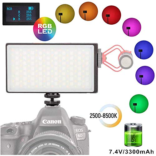 Sutefoto 0-360全掌上颜色RGB相机上的摄像灯机头灯的DLSR相机摄像机内置3300毫安可充电电池2500K-8500K可调,0-100%无级调光CRI / TLCI 95+