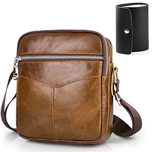 BAGZY Kleine Schoudertas Lederen Crossbody Tas Zakelijke Reizende Sling Satchel Phone Messenger Bag Outdoor Rugzak Voor Heren