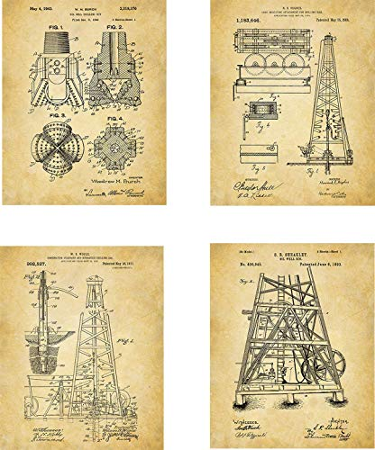 Oil Rig Patent Wall Art Prints - set of Four (8x10) Unframed - wall art decor