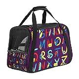 Portabebés para perros pequeños y medianos y cachorros, bolsa de viaje plegable para perros, portadores de perros con ventana de malla con temática de alfabeto, color morado oscuro