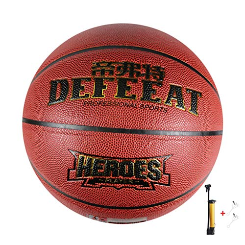 Sale!! YE ZI Basketballs- Standard Basketball Indoor Outdoor No. 7,with Pump (Color : Brown)
