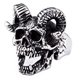 ZMY Home Mens Fashion Jewelry 316L Stainless Steel Rings for Men Punk Silver Demon Skull Ring (10)