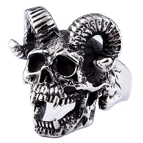 ZMY Mens Fashion Jewelry 316L Stainless Steel Rings for Men Punk Silver Demon Skull Ring (9)