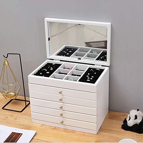 Caja de Joyas 1 Piezas Caja Joyas Joyero con Gran Capacidad,Joyero de 5 Niveles,con Cajón y Espejo,para Bisuterías,Relojes,Cosméticos,Anillo,Gafas de Sol,Caja Almacenamiento Joya