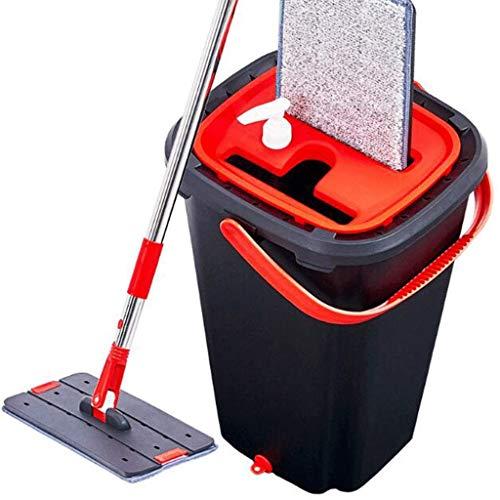 no-logo WJZJH Sistema de Limpieza de Piso con trapeador de Microfibra: Almohadillas Lavables, baldosas laminadas, trapeador, Mojado, seco, Reutilizable, Paredes, Vinilo, Cocina