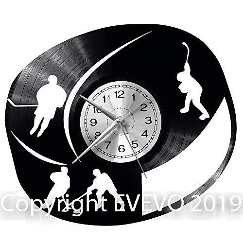 WoD Ice Hockey Wanduhr Vinyl Schallplatte Retro-Uhr groß Uhren Style Raum Home Dekorationen Tolles Geschenk Uhr