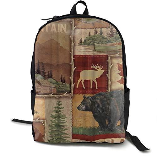Mochila para mujeres y hombres Boy mochila Boockbag casual senderismo mochila de gran capacidad rústico lodge oso pez alce arce