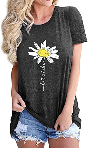 Women Let It Be Daisy Funny Graphic Shirts Summer Sunflower Workout Tops Short Sleeves Cute Beach Holiday Tee Tops, Grey L