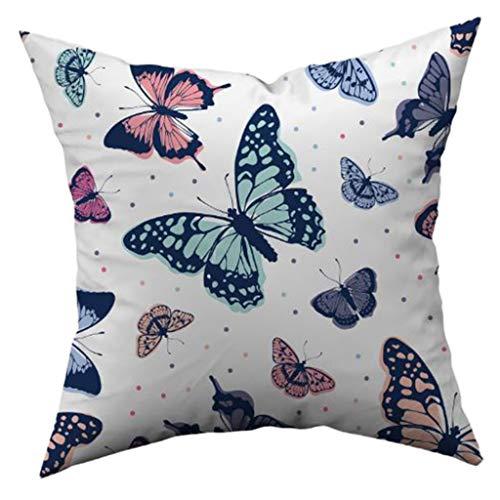 JAGETRADE Funda de Almohada Impresa Mariposa Funda de cojín de poliéster Suave Piel de melocotón Decoración para el hogar