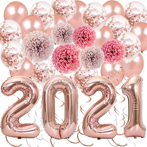 28 Pack Rose Gold New Years Party Decorations Kit, 2021 Rose Gold Balloons Rose Gold Confetti Balloons Paper Pom Poms Hanging Party Swirls for Lunar New Year's, Graduation Party Supplies, Home Decor